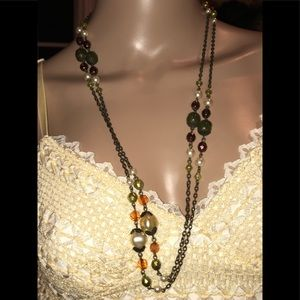 Long chain necklace with faux pearls, crystals NEW